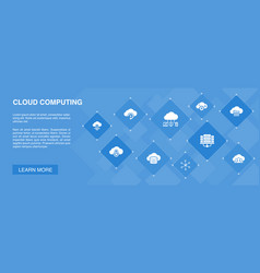 Cloud computing banner 10 icons concept vector
