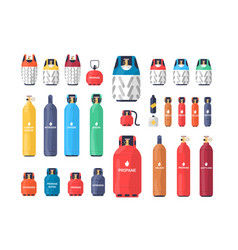 Collection of industrial compressed gas cylinders vector