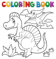 coloring book dinosaur theme 2 vector image