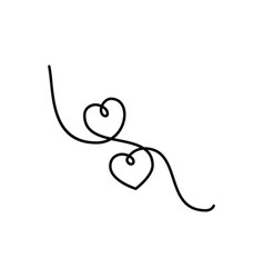 continuous line drawing two hearts black and vector image