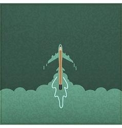 Creativity learning aircraft ship launch made vector