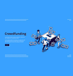 Crowdfunding isometric landing page donation vector