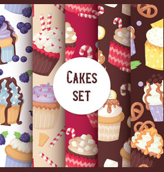 Cupcake seamless pattern cute cake food background vector