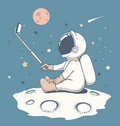 Curious astronaut make a selfie on moon vector