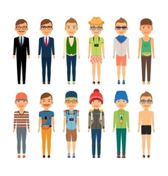 Cute Cartoon Boys in Assorted Clothing Styles vector image