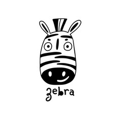 cute simple zebra face cartoon style vector image