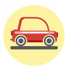 Digital red car icon on yellow circle vector
