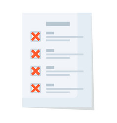 Document checklist with red reject and false vector