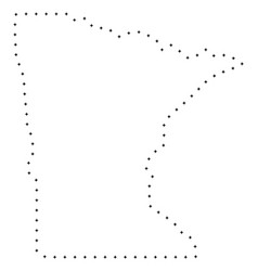 Dot stroke minnesota state map vector