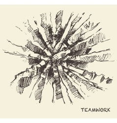 Drawn people teamwork collaboration concept vector image