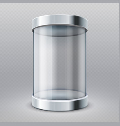 Empty transparent glass cylinder 3d showcase vector