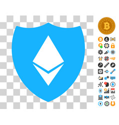 ethereum crystal shield icon with bonus vector image
