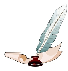 Feather pen in the ink and paper vector