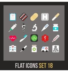 Flat icons set 18 vector image