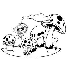 Fungus elfs and fairy in garden vector