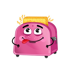funny toaster with bread cartoon character vector image