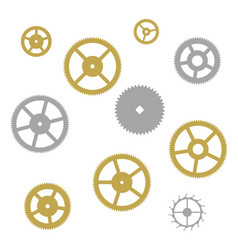 gear collection clock machine wheels vector image