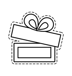 Gift box ribbon ornament celebration open cut line vector