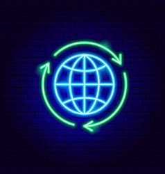 Global recycling neon sign vector