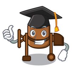 Graduation concrete mixer character cartoon vector
