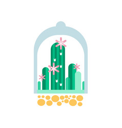 green cactus plants with pink flowers under vector image