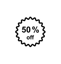 half price tag 50 off icon black on white vector image