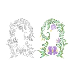 Hand drawn floral violet ornament vector image