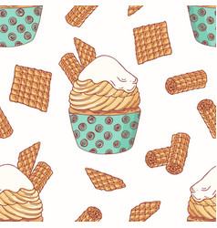 Hand drawn seamless pattern with doodle cupcake vector