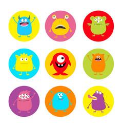 Happy halloween cute monster round icon set vector