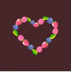 heart consists of berries vector image