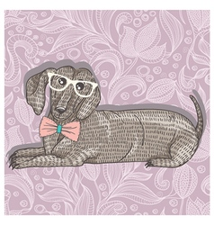 Hipster dachshund with glasses vector