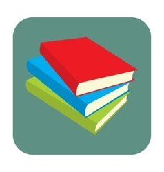 Horizontal stack of colored books flat icon vector image