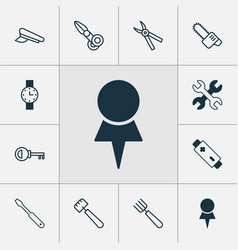 instrument icons set with pilot hat destination vector image