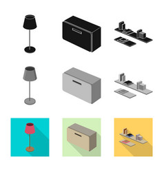 isolated object of bedroom and room symbol vector image