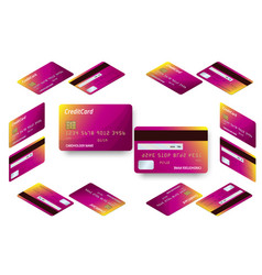 Isometric set of templates of credit cards vector