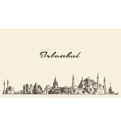 Istanbul skyline Turkey drawn sketch vector