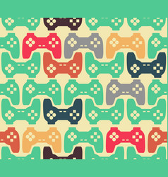 Joystick seamless pattern retro gamepad texture vector
