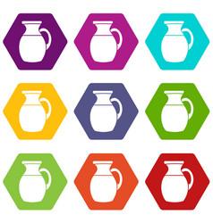 jug of milk icon set color hexahedron vector image