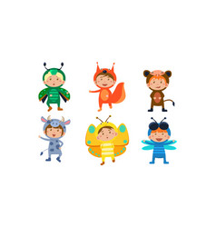 kids in carnival costumes set cute little boys vector image