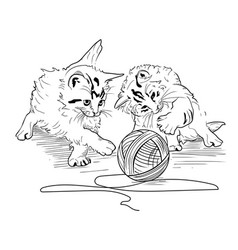 Kittens play with the hank of threads vector