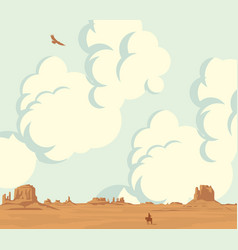 Landscape with cloudy sky and lonely cowboy vector