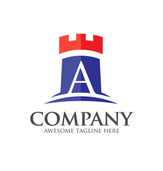 letter a and castle logo vector image