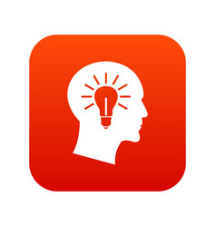 light bulb inside head icon digital red vector image