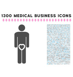 Male love genitals icon with 1300 medical business vector