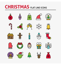 Merry Christmas Colorful Flat Line Icons Set vector
