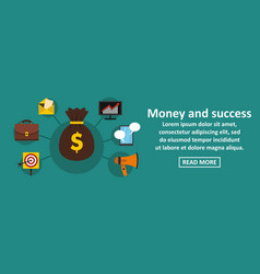 money and success banner horizontal concept vector image