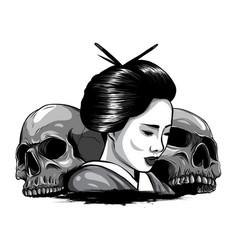 Monochromatic geisha skull vector