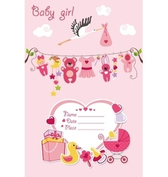 New born baby girl card shower invitation vector