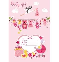 new born bagirl card shower invitation vector image