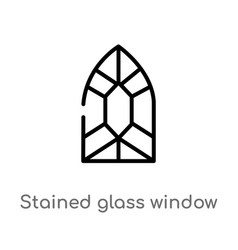 Outline stained glass window icon isolated black vector